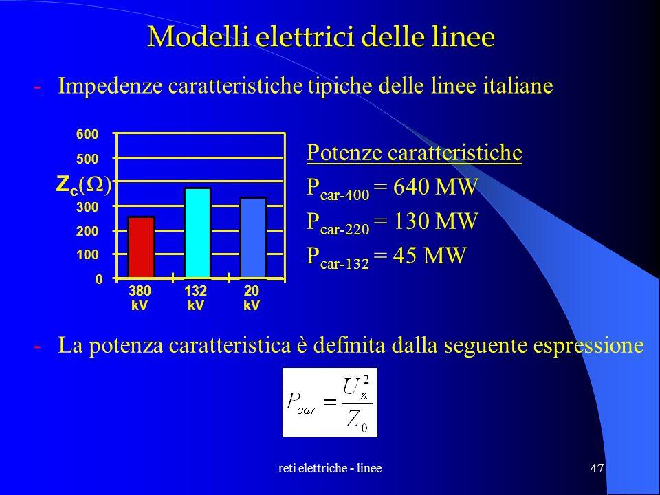 reti elettriche - linee47 0 100 200 300 Z c 500 600 380 kV 132 kV 20 kV Modelli elettrici delle linee -Impedenze caratteristiche tipiche delle linee i