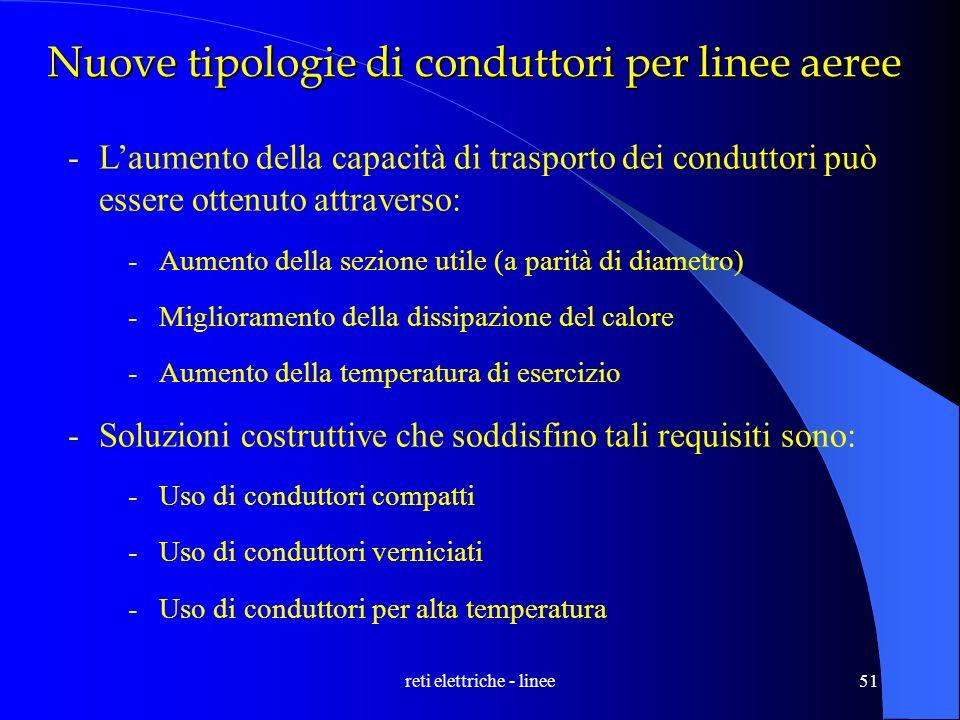 reti elettriche - linee51 Nuove tipologie di conduttori per linee aeree -Laumento della capacità di trasporto dei conduttori può essere ottenuto attra