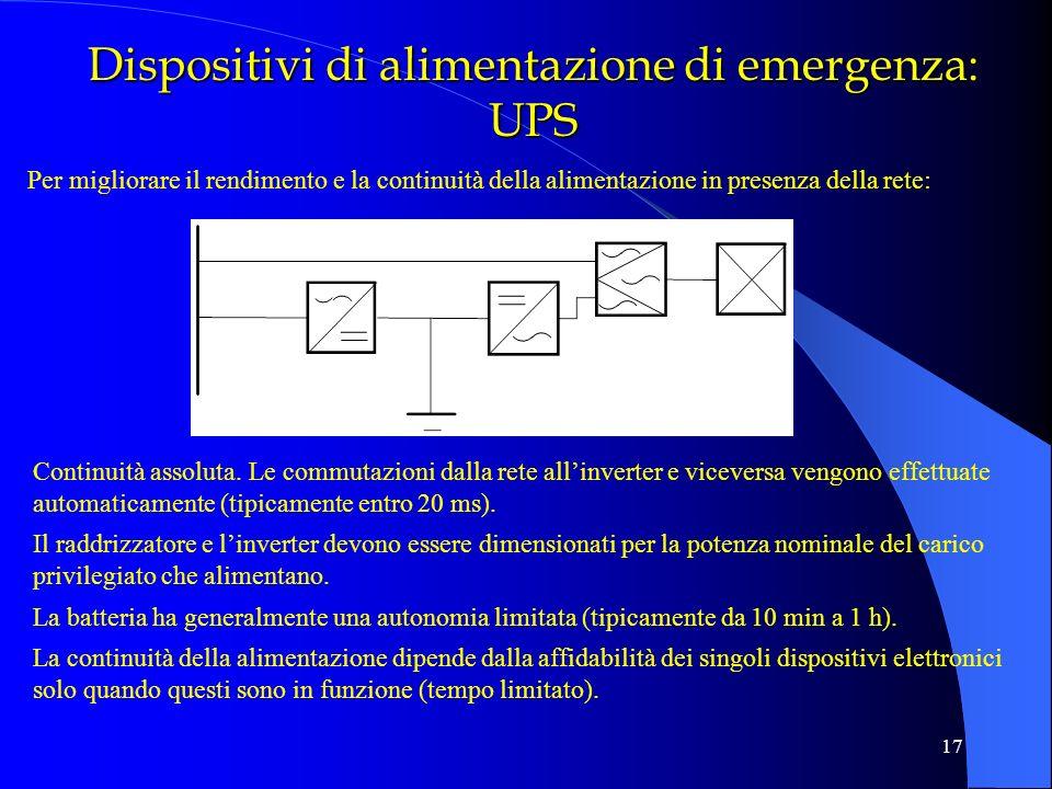17 Dispositivi di alimentazione di emergenza: UPS Continuità assoluta. Le commutazioni dalla rete allinverter e viceversa vengono effettuate automatic