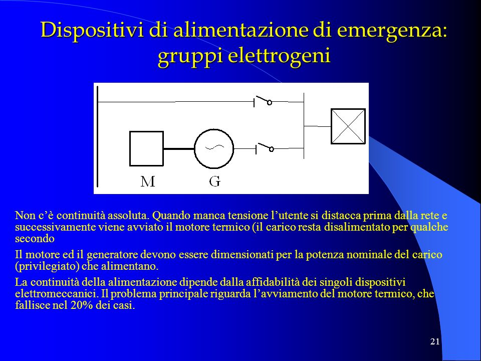 21 Dispositivi di alimentazione di emergenza: gruppi elettrogeni Non cè continuità assoluta. Quando manca tensione lutente si distacca prima dalla ret