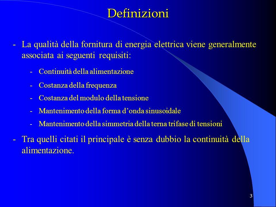 3 -La qualità della fornitura di energia elettrica viene generalmente associata ai seguenti requisiti: -Continuità della alimentazione -Costanza della
