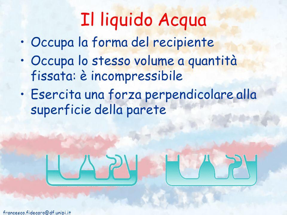 francesco.fidecaro@df.unipi.it Il liquido Acqua Occupa la forma del recipiente Occupa lo stesso volume a quantità fissata: è incompressibile Esercita