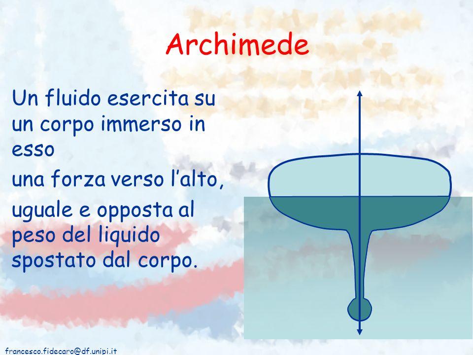 francesco.fidecaro@df.unipi.it Archimede Un fluido esercita su un corpo immerso in esso una forza verso lalto, uguale e opposta al peso del liquido sp