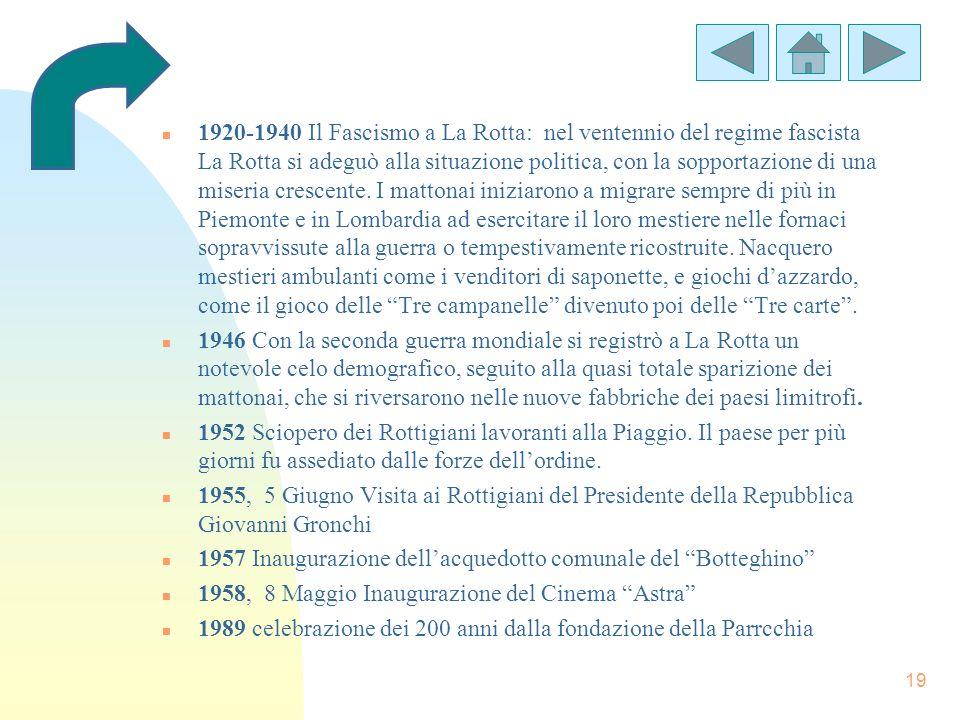 19 n 1920-1940 Il Fascismo a La Rotta: nel ventennio del regime fascista La Rotta si adeguò alla situazione politica, con la sopportazione di una mise
