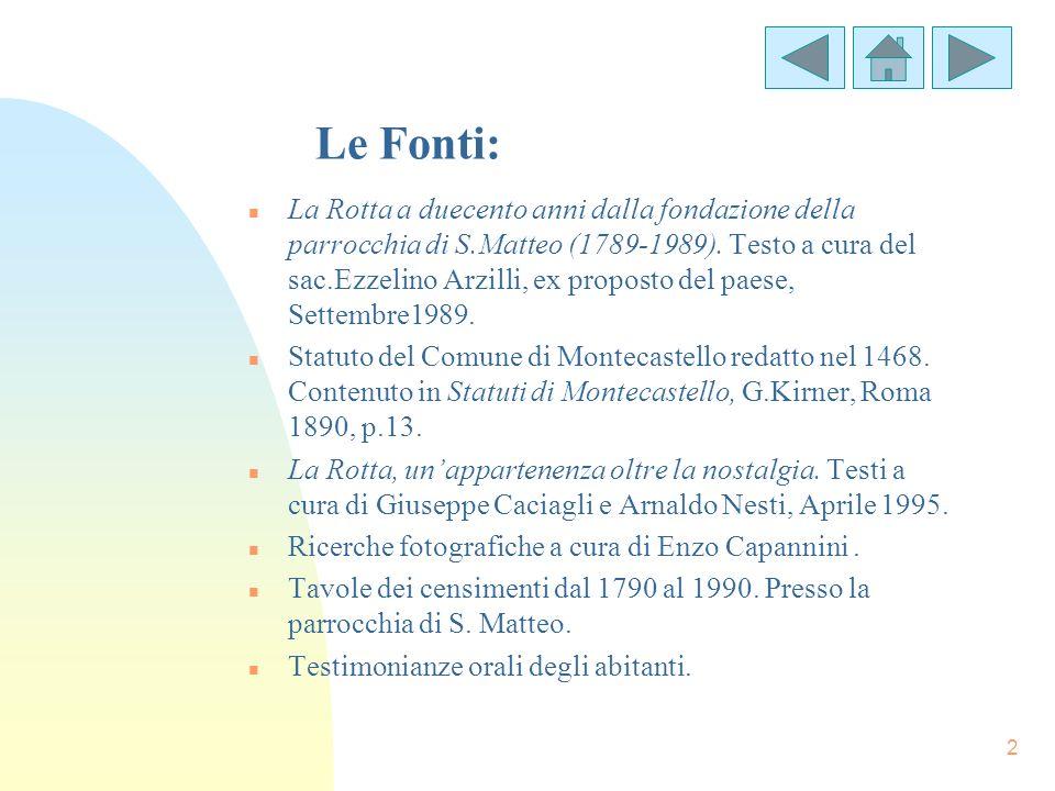 2 Le Fonti: n La Rotta a duecento anni dalla fondazione della parrocchia di S.Matteo (1789-1989). Testo a cura del sac.Ezzelino Arzilli, ex proposto d