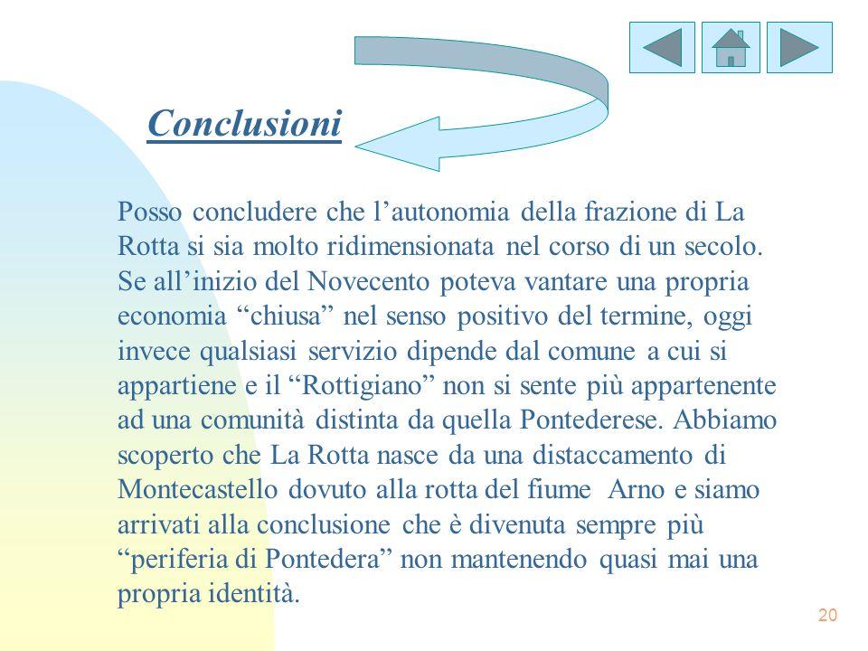 20 Conclusioni Posso concludere che lautonomia della frazione di La Rotta si sia molto ridimensionata nel corso di un secolo. Se allinizio del Novecen