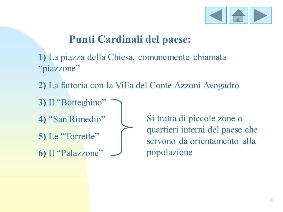 4 1) La piazza della Chiesa, comunemente chiamata piazzone 2) La fattoria con la Villa del Conte Azzoni Avogadro 3) Il Botteghino 4) San Rimedio 5) Le