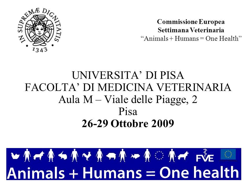 UNIVERSITA DI PISA FACOLTA DI MEDICINA VETERINARIA Aula M – Viale delle Piagge, 2 Pisa 26-29 Ottobre 2009 Commissione Europea Settimana Veterinaria An