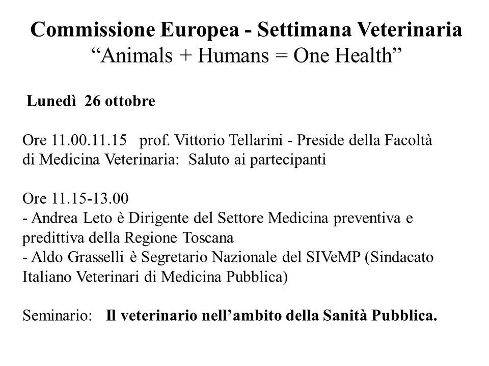 Lunedì 26 ottobre Ore 11.00.11.15 prof. Vittorio Tellarini - Preside della Facoltà di Medicina Veterinaria: Saluto ai partecipanti Ore 11.15-13.00 - A