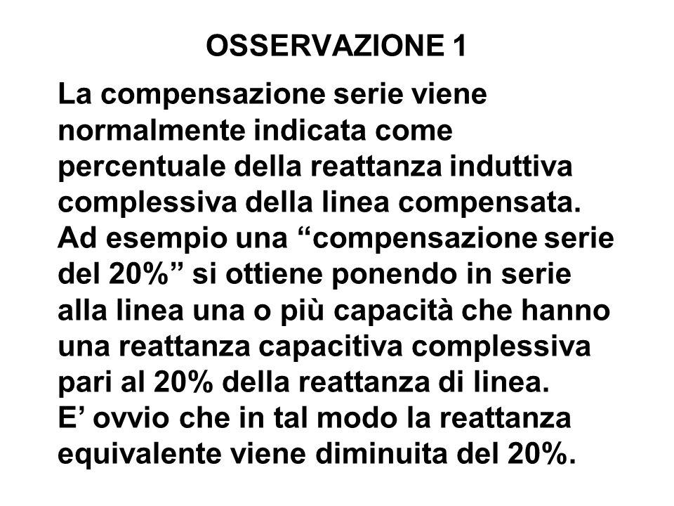 OSSERVAZIONE 1 La compensazione serie viene normalmente indicata come percentuale della reattanza induttiva complessiva della linea compensata. Ad ese