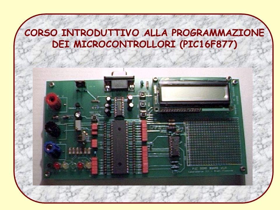 corso sui microprocessori52 Uso del ADC integrato Lacquisizione avviene in due passaggi: prima si carica un condensatore (acquisition time ) SAMPLE e il condensatore viene chiuso su alta impedenza ed il valore ai suoi capi viene misurato (conversion time) HOLD.