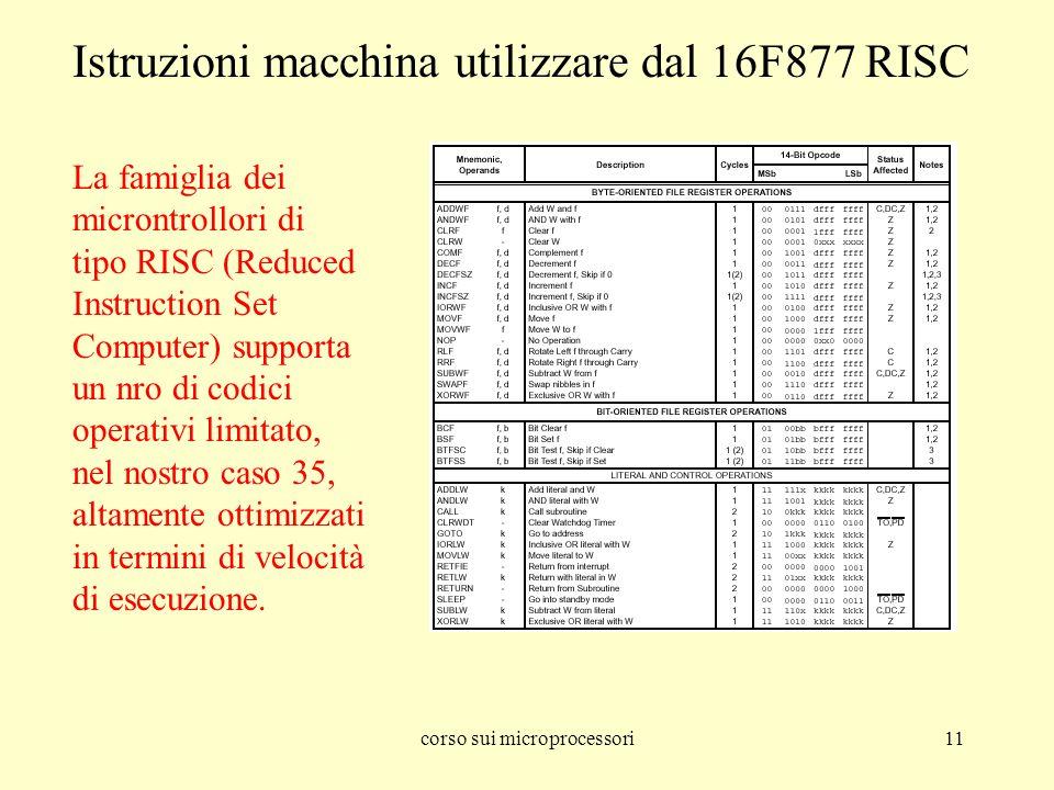 corso sui microprocessori11 Istruzioni macchina utilizzare dal 16F877 RISC La famiglia dei microntrollori di tipo RISC (Reduced Instruction Set Computer) supporta un nro di codici operativi limitato, nel nostro caso 35, altamente ottimizzati in termini di velocità di esecuzione.