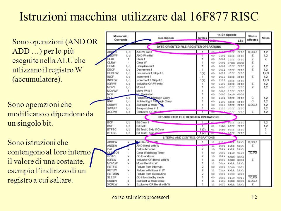 corso sui microprocessori12 Istruzioni macchina utilizzare dal 16F877 RISC Sono operazioni (AND OR ADD …) per lo più eseguite nella ALU che utlizzano