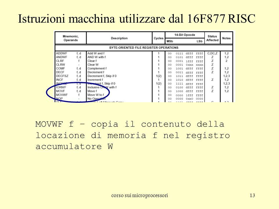 corso sui microprocessori13 MOVWF f – copia il contenuto della locazione di memoria f nel registro accumulatore W Istruzioni macchina utilizzare dal 1