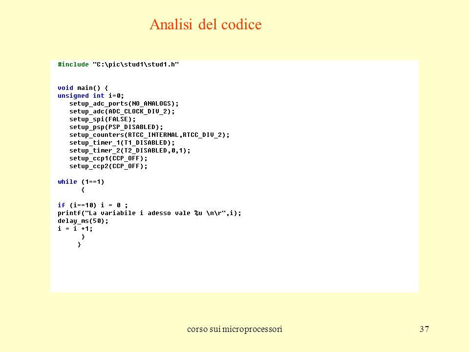 corso sui microprocessori37 Analisi del codice