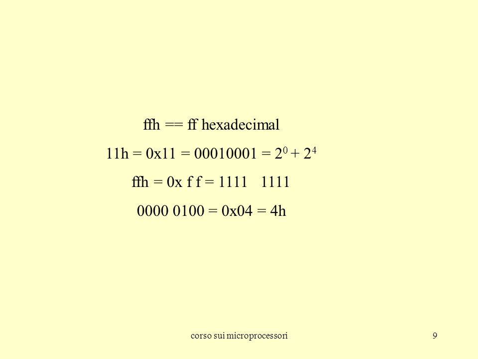 corso sui microprocessori9 ffh == ff hexadecimal 11h = 0x11 = 00010001 = 2 0 + 2 4 ffh = 0x f f = 1111 1111 0000 0100 = 0x04 = 4h