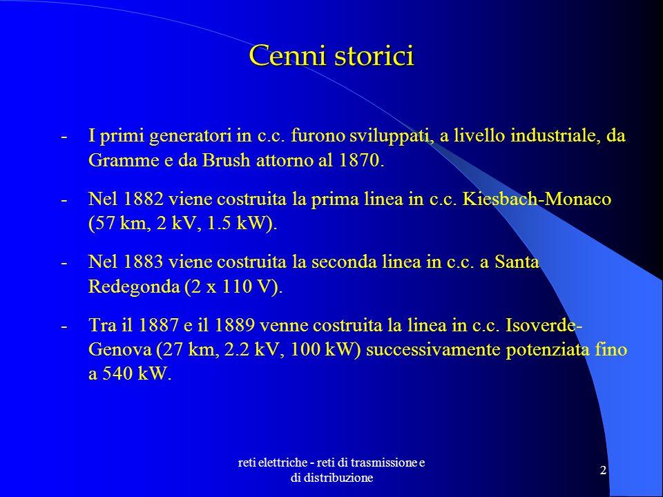 reti elettriche - reti di trasmissione e di distribuzione 2 Cenni storici -I primi generatori in c.c.