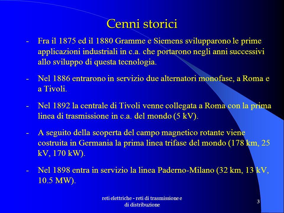 reti elettriche - reti di trasmissione e di distribuzione 3 Cenni storici -Fra il 1875 ed il 1880 Gramme e Siemens svilupparono le prime applicazioni industriali in c.a.