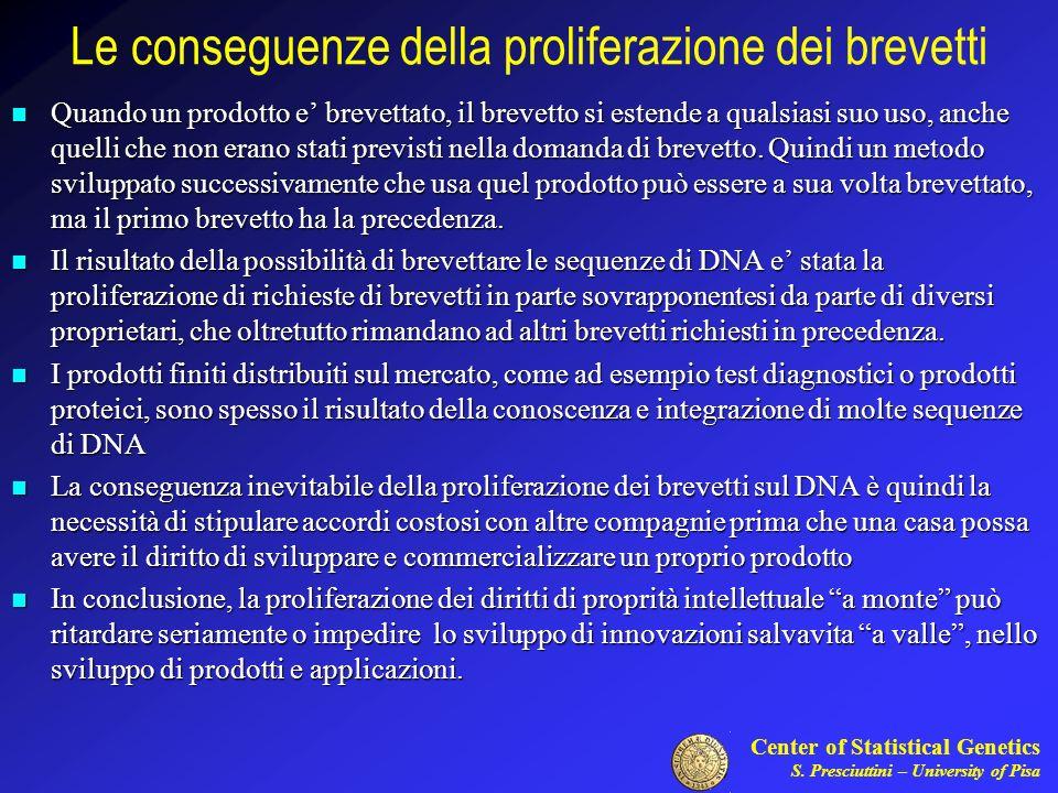 Center of Statistical Genetics S. Presciuttini – University of Pisa Le conseguenze della proliferazione dei brevetti Quando un prodotto e brevettato,