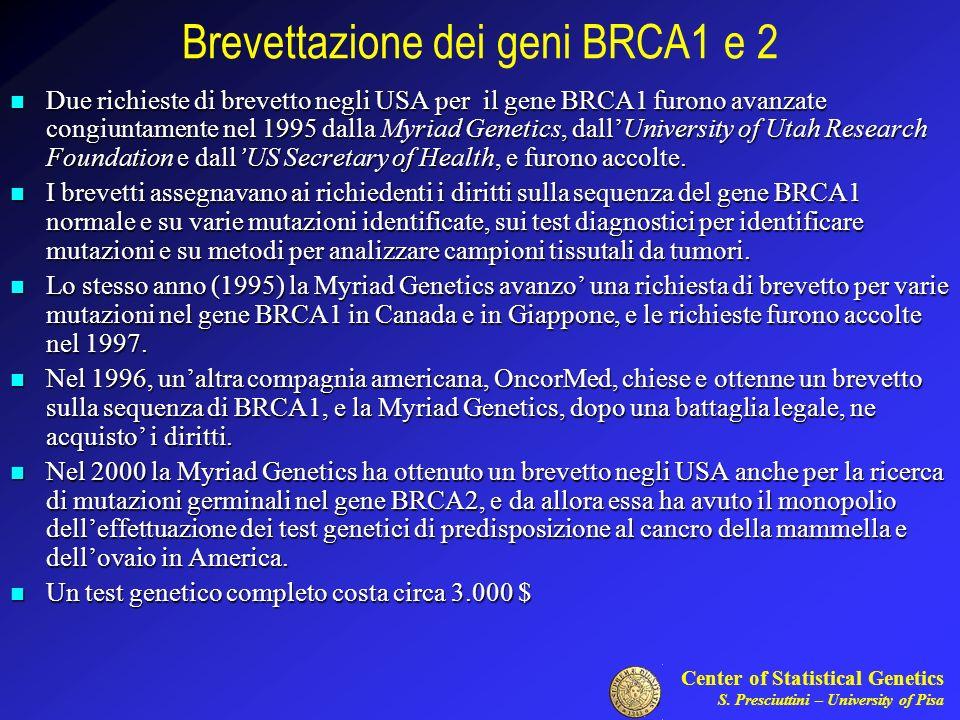 Center of Statistical Genetics S. Presciuttini – University of Pisa Brevettazione dei geni BRCA1 e 2 Due richieste di brevetto negli USA per il gene B