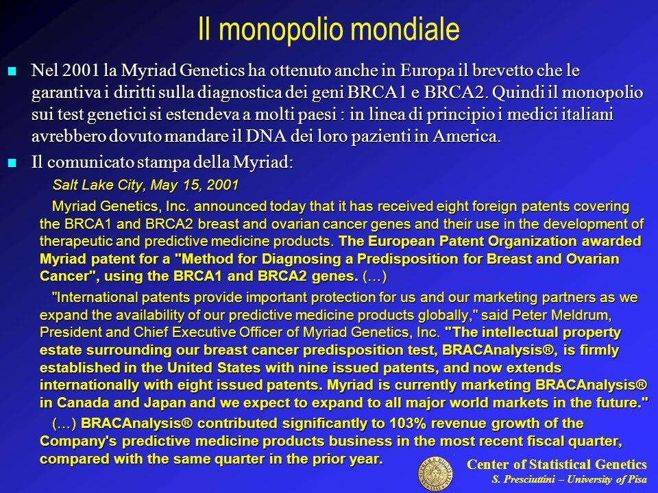 Center of Statistical Genetics S. Presciuttini – University of Pisa Il monopolio mondiale Nel 2001 la Myriad Genetics ha ottenuto anche in Europa il b