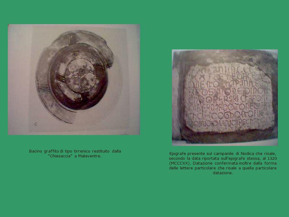 Bacino graffito di tipo tirrenico restituito dalla Chiesaccia a Malaventre. Epigrafe presente sul campanile di Nodica che risale, secondo la data ripo