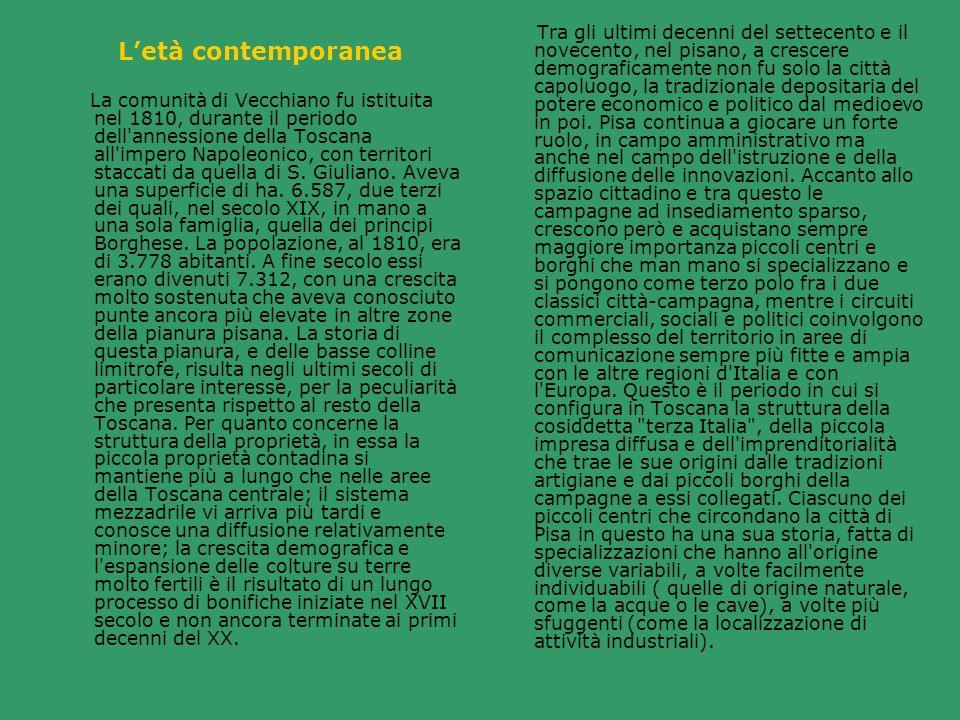 La comunità di Vecchiano fu istituita nel 1810, durante il periodo dell'annessione della Toscana all'impero Napoleonico, con territori staccati da que