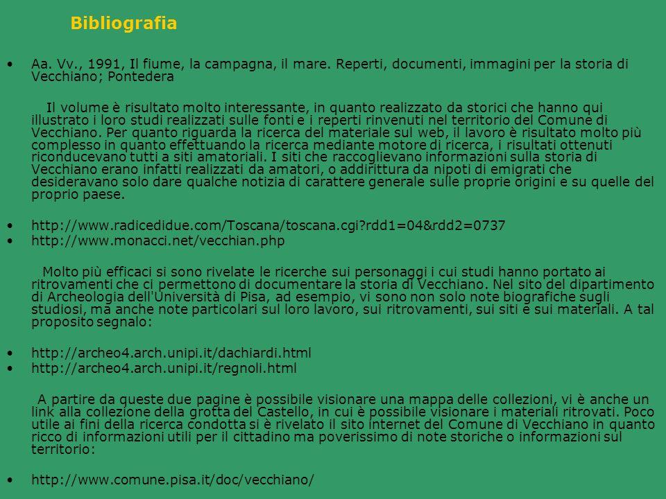 Bibliografia Aa. Vv., 1991, Il fiume, la campagna, il mare. Reperti, documenti, immagini per la storia di Vecchiano; Pontedera Il volume è risultato m
