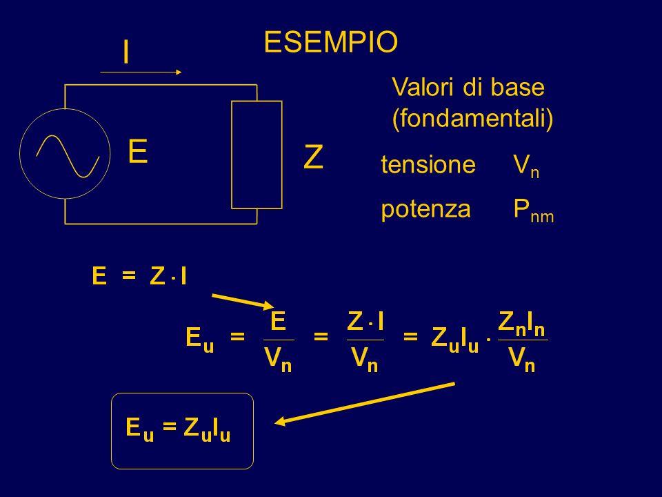 ESEMPIO Z E I Valori di base (fondamentali) potenzaP nm tensioneV n