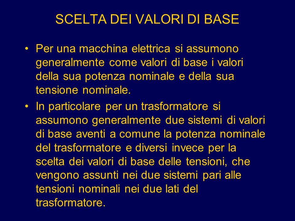 SCELTA DEI VALORI DI BASE Per una macchina elettrica si assumono generalmente come valori di base i valori della sua potenza nominale e della sua tens