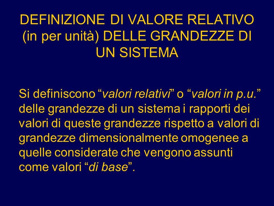 DEFINIZIONE DI VALORE RELATIVO (in per unità) DELLE GRANDEZZE DI UN SISTEMA Si definiscono valori relativi o valori in p.u. delle grandezze di un sist