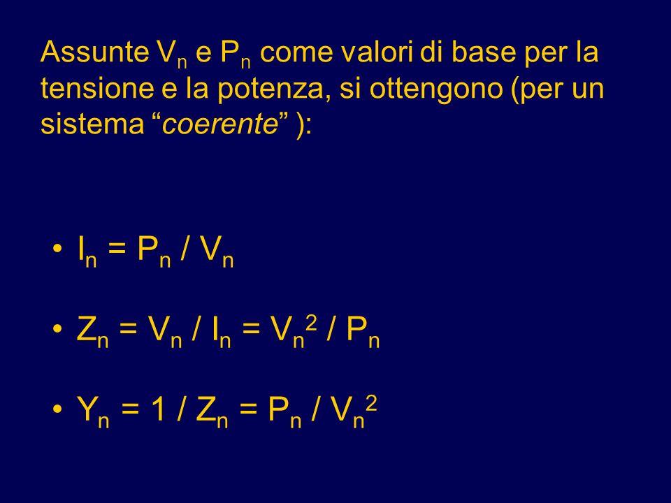 Assunte V n e P n come valori di base per la tensione e la potenza, si ottengono (per un sistema coerente ): I n = P n / V n Z n = V n / I n = V n 2 /