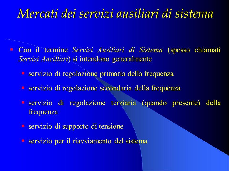 Mercati dei servizi ausiliari di sistema I servizi di regolazione della frequenza in Italia devono soddisfare le specifiche UCTE (problema dellOS che viene in parte ribaltato sui Produttori).