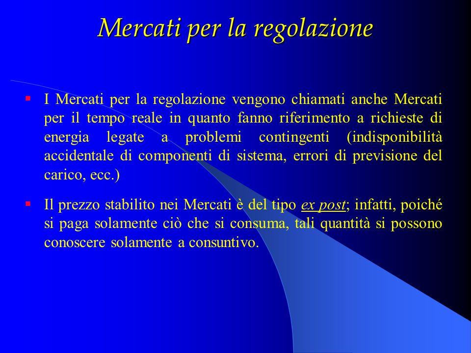 Mercati per la regolazione I Mercati per la regolazione vengono chiamati anche Mercati per il tempo reale in quanto fanno riferimento a richieste di e