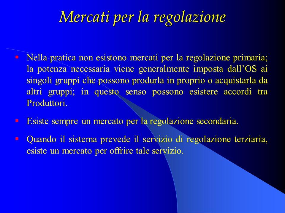 Mercati per la regolazione Nella pratica non esistono mercati per la regolazione primaria; la potenza necessaria viene generalmente imposta dallOS ai
