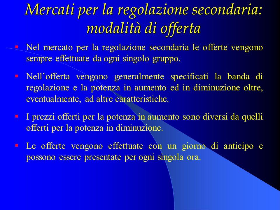 Mercati per la regolazione secondaria: modalità di offerta Nel mercato per la regolazione secondaria le offerte vengono sempre effettuate da ogni sing