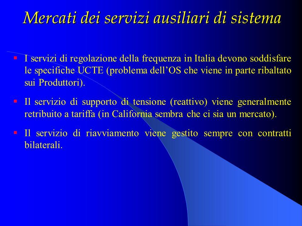 Mercati dei servizi ausiliari di sistema I servizi di regolazione della frequenza in Italia devono soddisfare le specifiche UCTE (problema dellOS che
