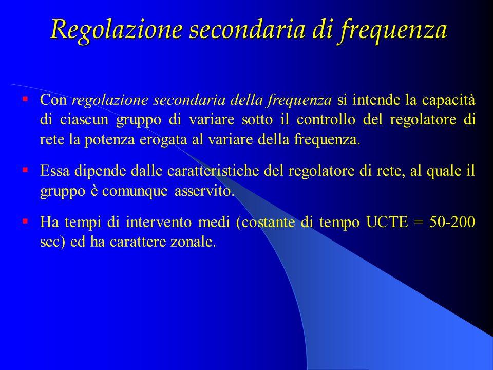 Regolazione secondaria di frequenza Con regolazione secondaria della frequenza si intende la capacità di ciascun gruppo di variare sotto il controllo