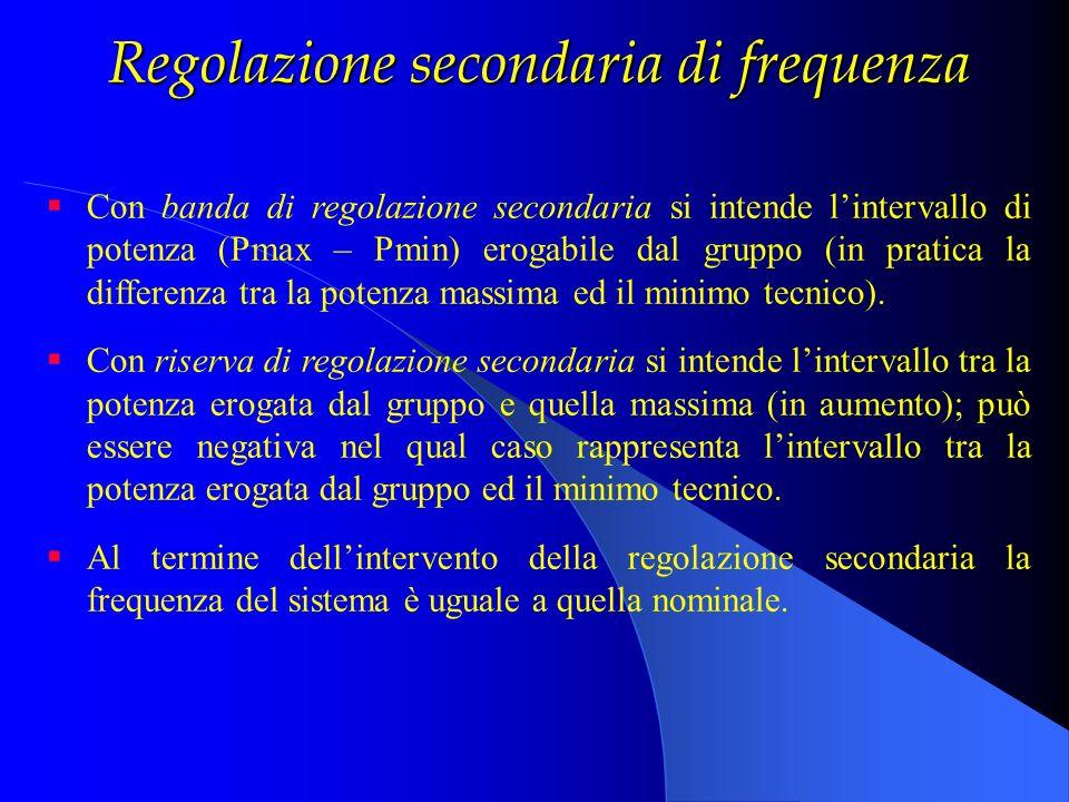 Regolazione secondaria di frequenza Con banda di regolazione secondaria si intende lintervallo di potenza (Pmax – Pmin) erogabile dal gruppo (in prati