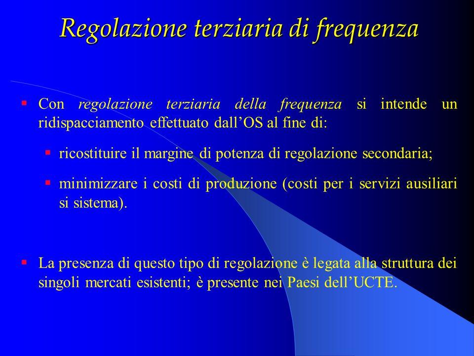 Regolazione terziaria di frequenza Con regolazione terziaria della frequenza si intende un ridispacciamento effettuato dallOS al fine di: ricostituire
