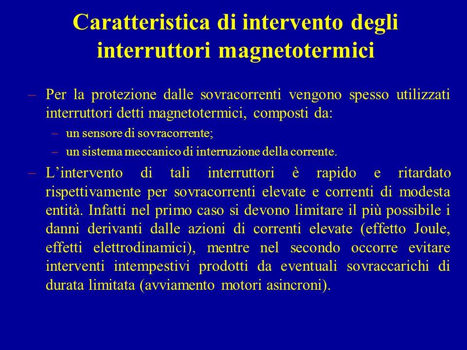 Caratteristica di intervento degli interruttori magnetotermici –La caratteristica di intervento di un interruttore magnetotermico è generalmente rappresentabile su un diagramma corrente-tempo di intervento