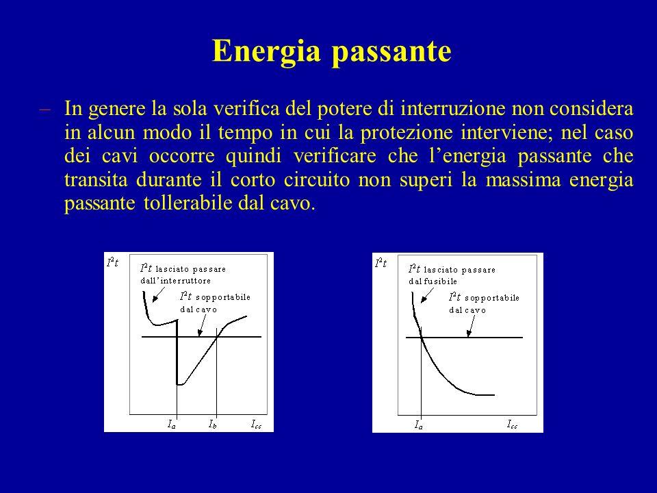 Energia passante –In genere la sola verifica del potere di interruzione non considera in alcun modo il tempo in cui la protezione interviene; nel caso