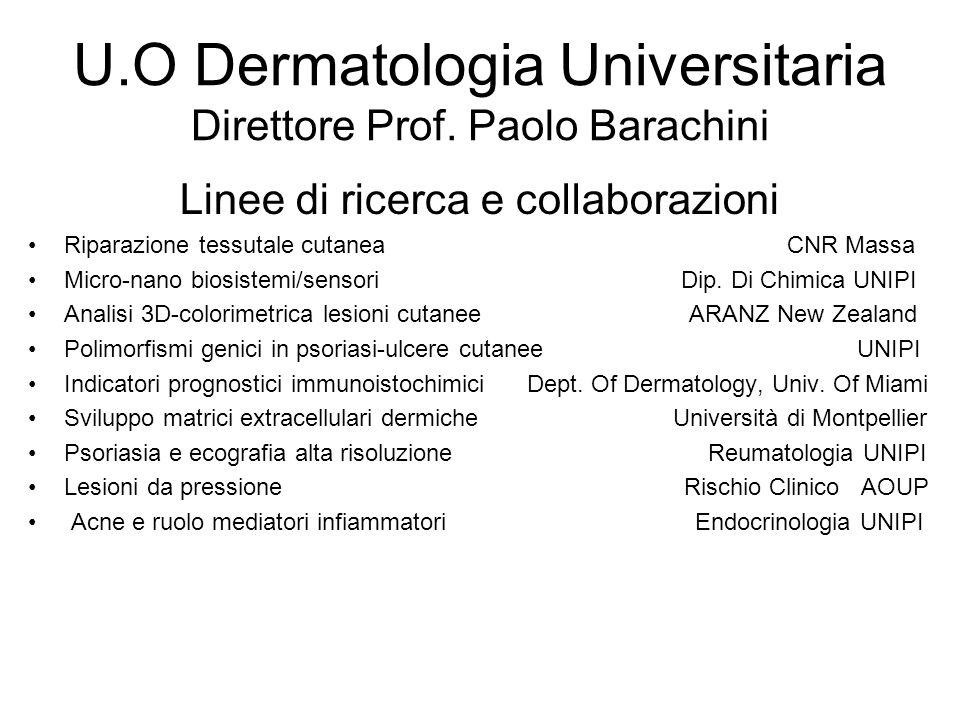 U.O Dermatologia Universitaria Direttore Prof. Paolo Barachini Linee di ricerca e collaborazioni Riparazione tessutale cutanea CNR Massa Micro-nano bi