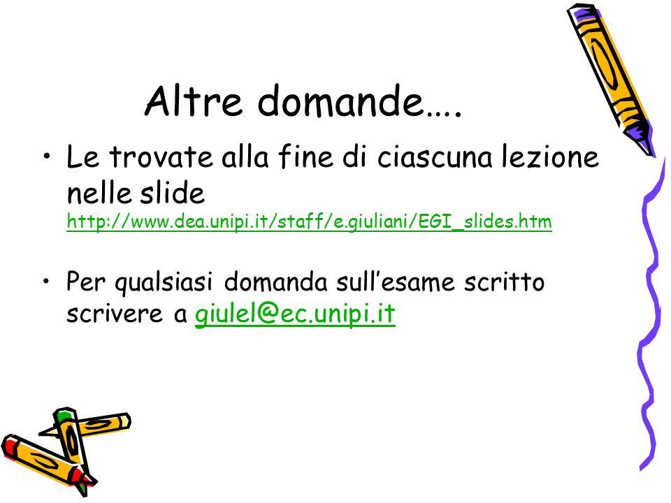 Altre domande…. Le trovate alla fine di ciascuna lezione nelle slide http://www.dea.unipi.it/staff/e.giuliani/EGI_slides.htm http://www.dea.unipi.it/s