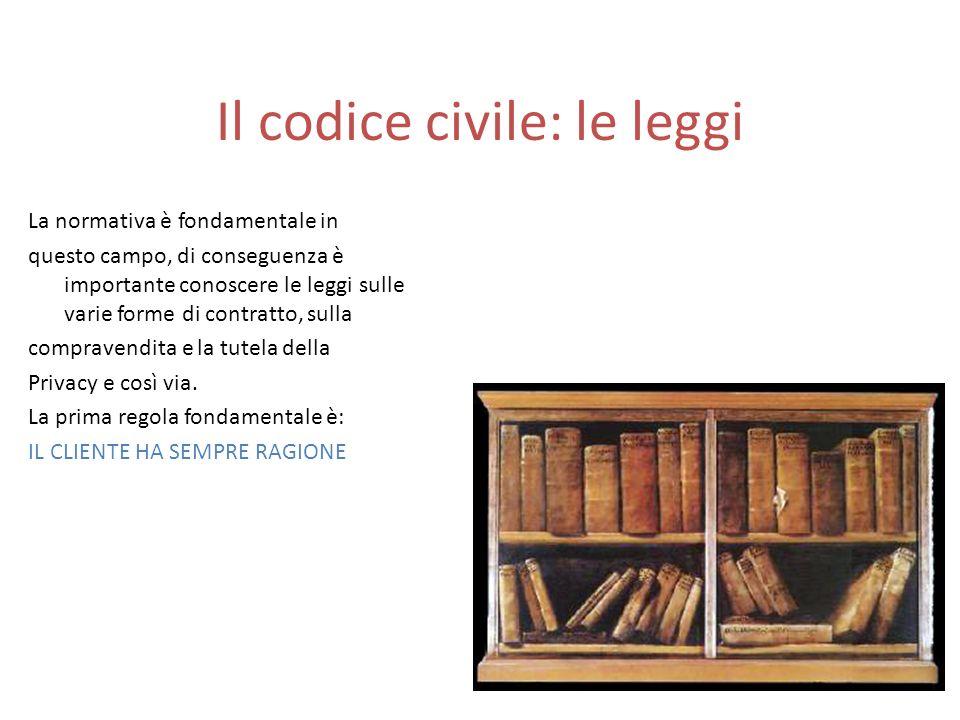 Il codice civile: le leggi La normativa è fondamentale in questo campo, di conseguenza è importante conoscere le leggi sulle varie forme di contratto,