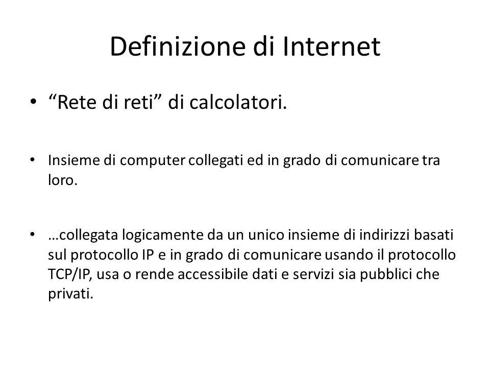 Definizione di Internet Rete di reti di calcolatori. Insieme di computer collegati ed in grado di comunicare tra loro. …collegata logicamente da un un