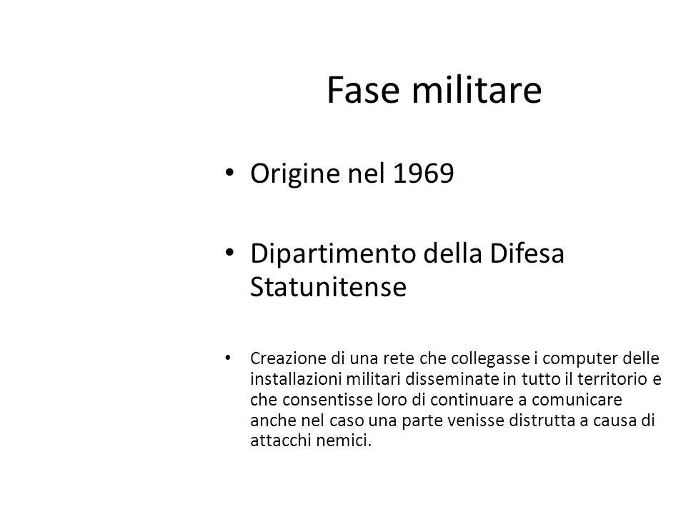 Fase militare Origine nel 1969 Dipartimento della Difesa Statunitense Creazione di una rete che collegasse i computer delle installazioni militari dis