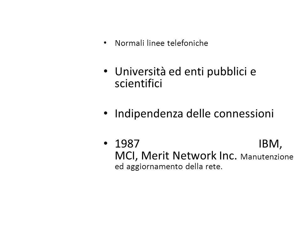 Normali linee telefoniche Università ed enti pubblici e scientifici Indipendenza delle connessioni 1987 IBM, MCI, Merit Network Inc. Manutenzione ed a