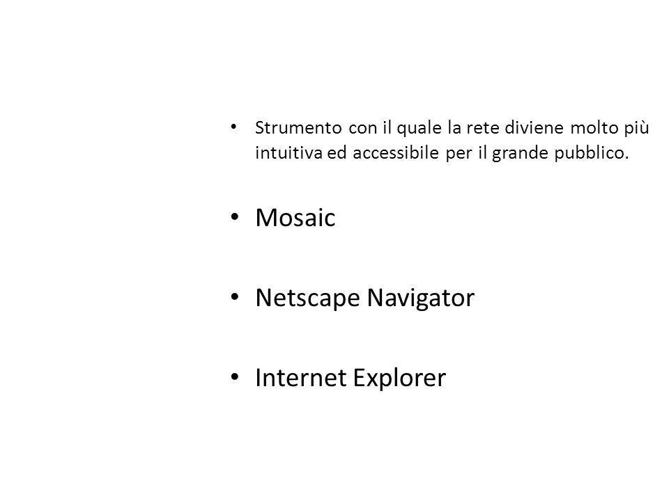 Strumento con il quale la rete diviene molto più intuitiva ed accessibile per il grande pubblico. Mosaic Netscape Navigator Internet Explorer