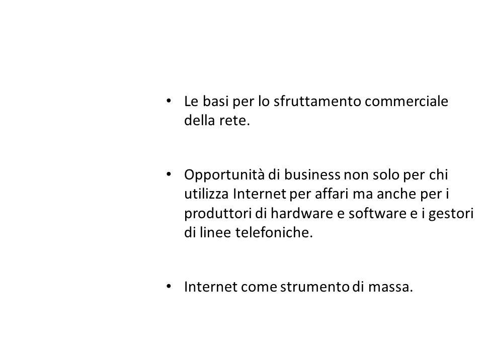 Le basi per lo sfruttamento commerciale della rete. Opportunità di business non solo per chi utilizza Internet per affari ma anche per i produttori di